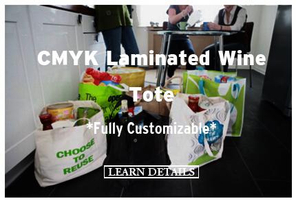 CMYK Laminated Wine Tote Fully Customizable